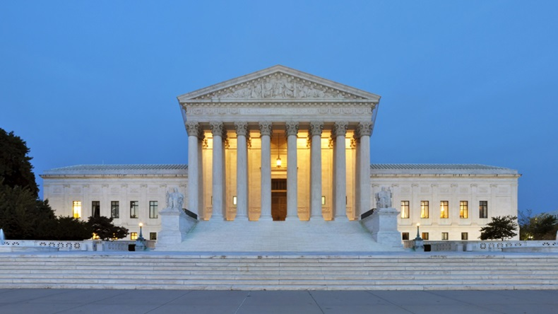 US Supreme Court building at dusk, Washington