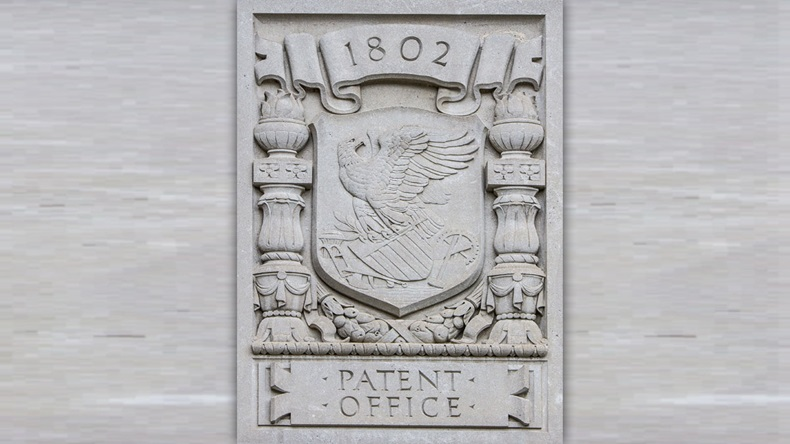 The Paten Office plaque on the Department of Commerce building in Washington DC taken May 30 2018