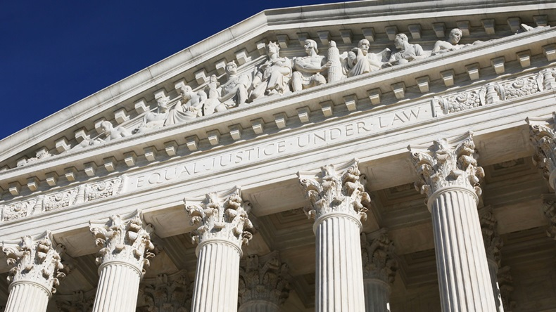 US Supreme Court building facade with words Equal Justice