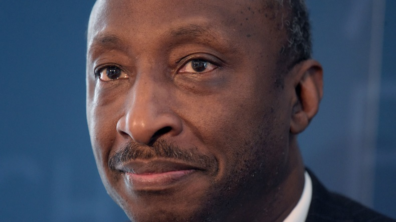 Kenneth Frazier, Chairman of the Board and CEO of US pharmaceutical company Merck looks on during an event with the French-American Foundation in Paris on July 11, 2018. (Photo by ERIC PIERMONT / AFP) GettyImages-996036844  (Photo credit should read ERIC PIERMONT/AFP via Getty Images)