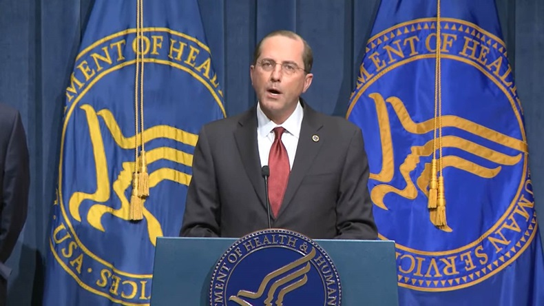 Alex Azar stands at OWS briefing on 12 January 2021 (screenshot)