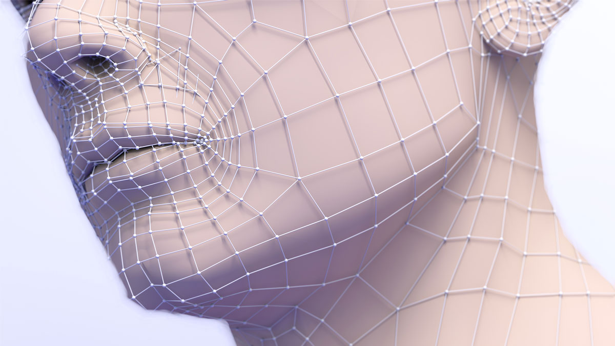 Anti-aging aesthetic medical treatment. 3d illustration of plastic surgery.Mesh and lines in the skin and procedure to eliminate wrinkles