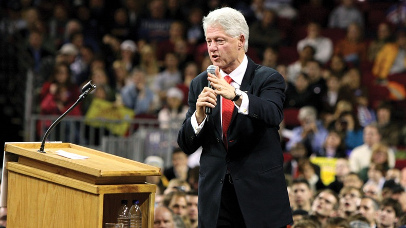 Former president Bill Clinton giving a speech in Denver for his wife Hillary, January 30, 2008