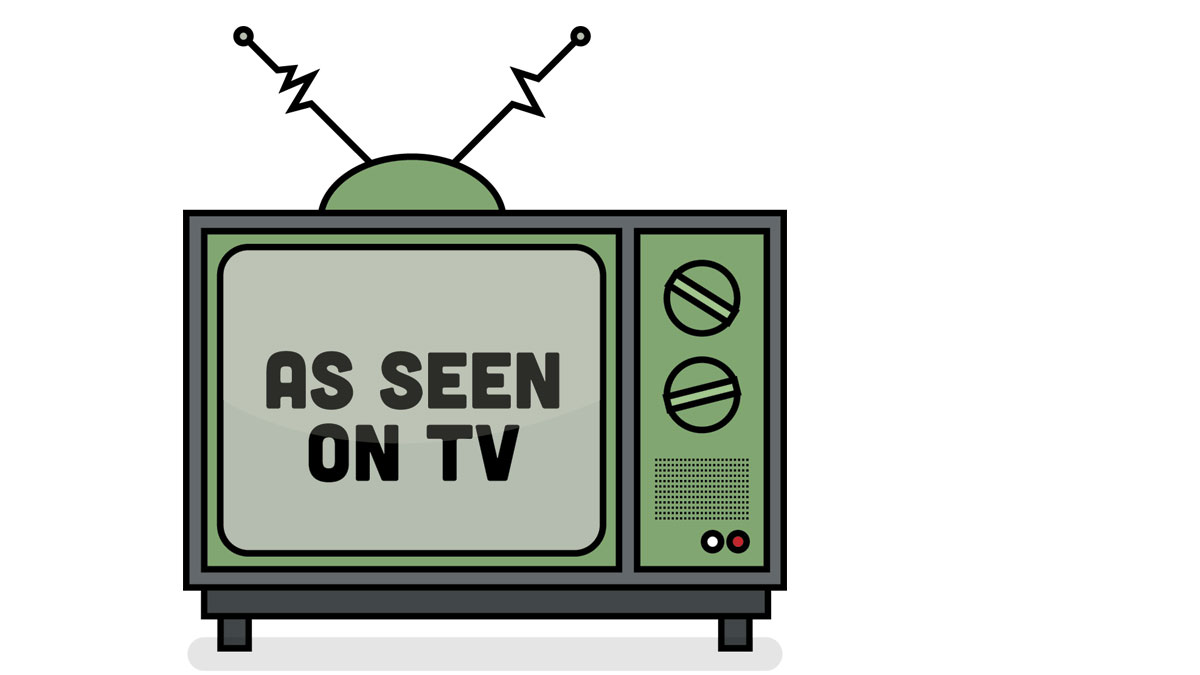 As seen on TV illustration with television aerial. Vintage Television design