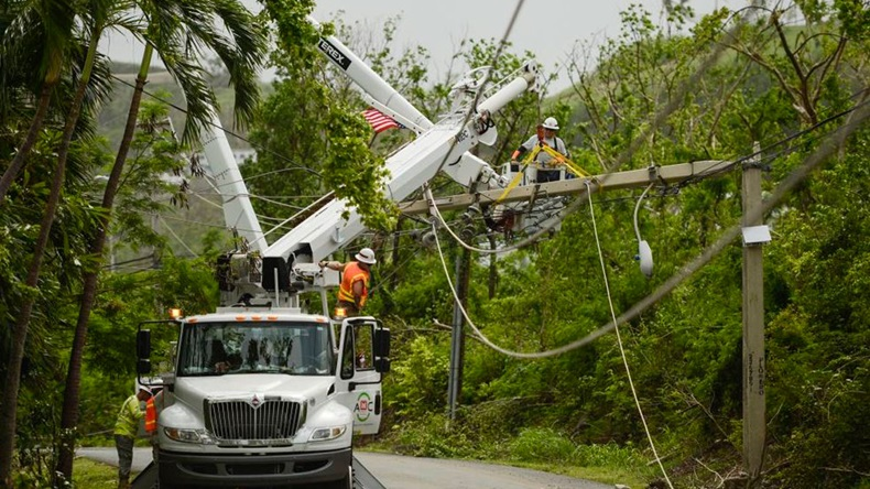 US Army Corps of Engineers 249th Engineering Battalion D company repairing power lines in Puerto Rico