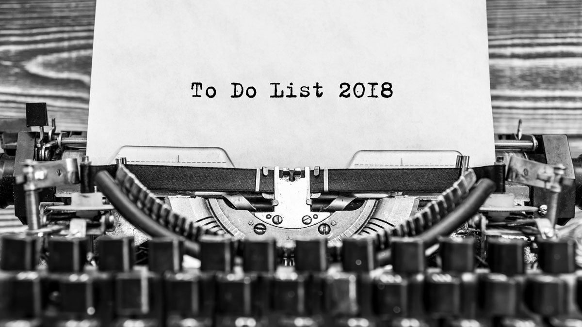 Vintage typewriter with To Do list for 2018