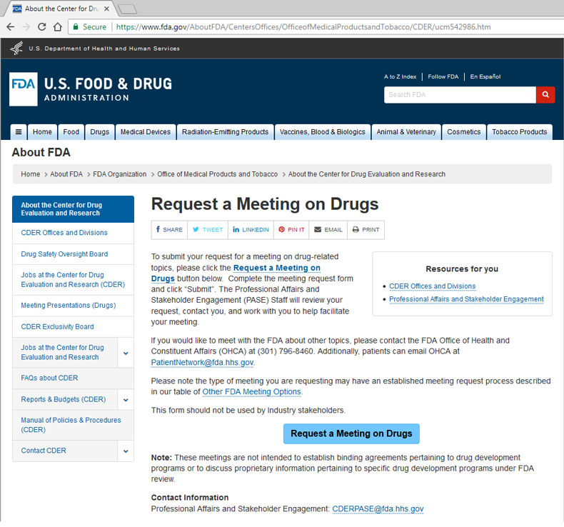 FDA Website about requestign a meeting on drugs