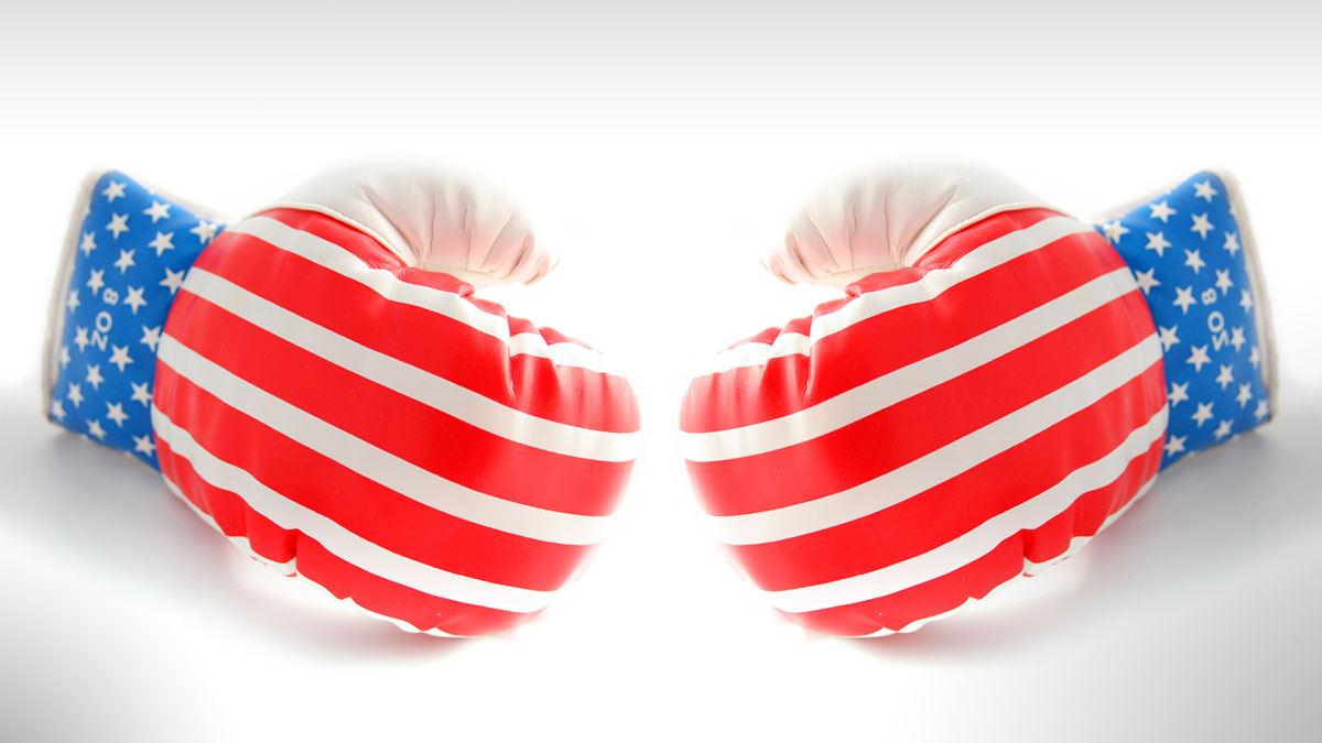 boxing gloves isolated on white with american flag stars and stripes