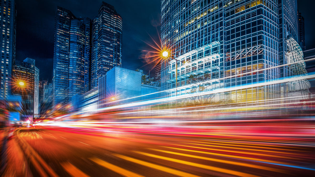 Motion speed lighting in the city - Image