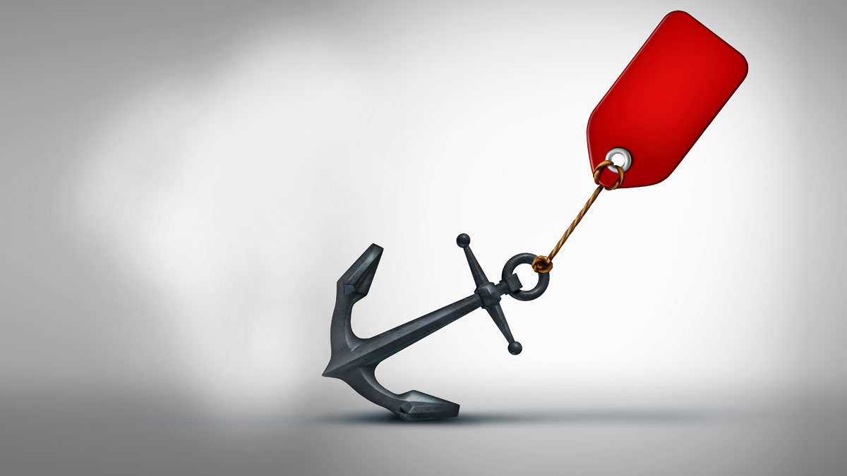 Sales problem business concept as a price tag pulling on a heavy anchor as a financial crisis metaphor and slow economy or sluggish retail selling symbol as a 3D illustration icon.