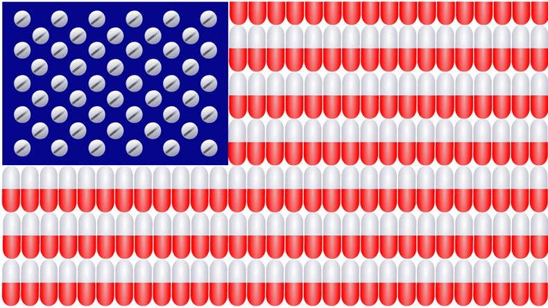 American Flag with stripes composed of red and white capsules and stars made from medicinal tablets - Vector