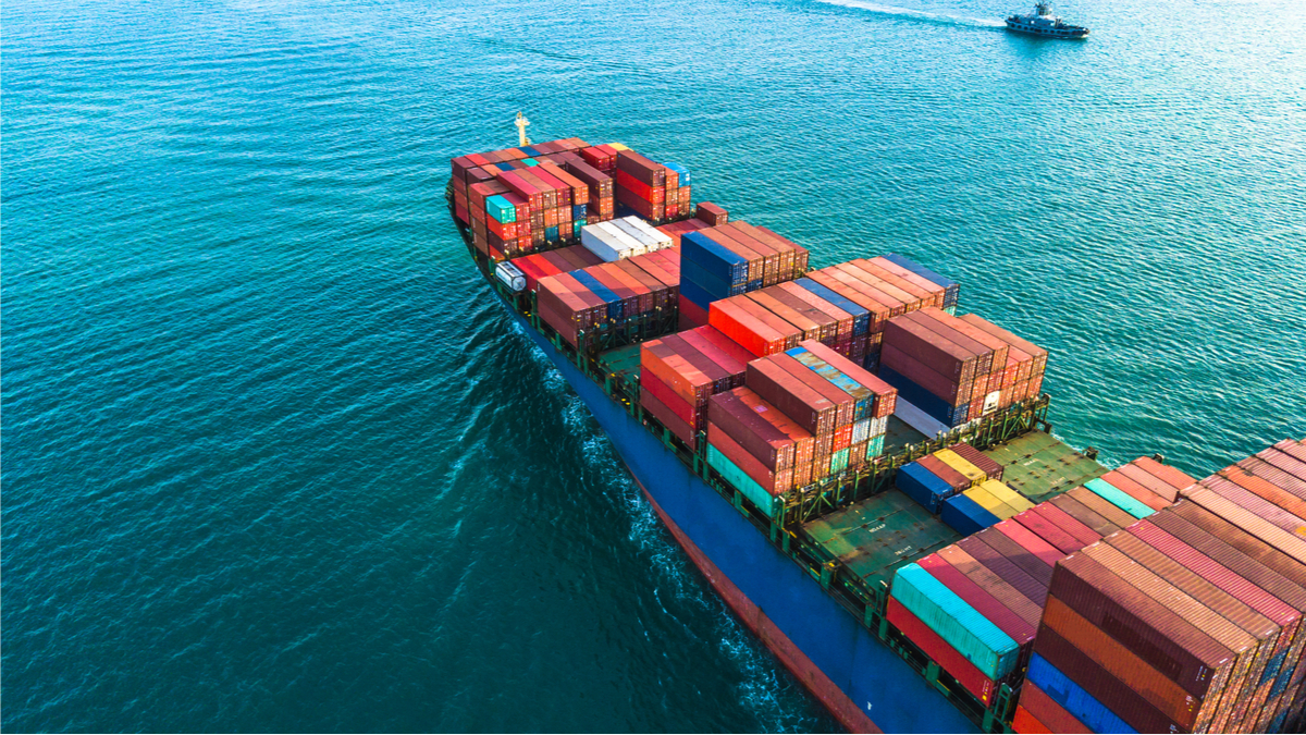 Aerial view container cargo ship, import export business logistic and transportation of International by container ship in the open sea. - Image