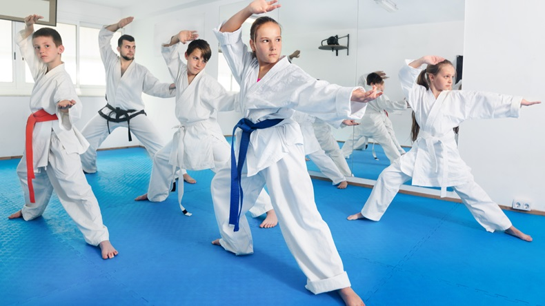 Children trying new martial moves in practice during karate class in a gym - Image
