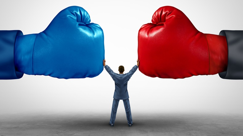 Mediate and legal mediation business concept as a businessman or lawyer separating two boxing glove opposing competitors as an arbitration success symbol for finding a solution to solve a conflict. - Illustration