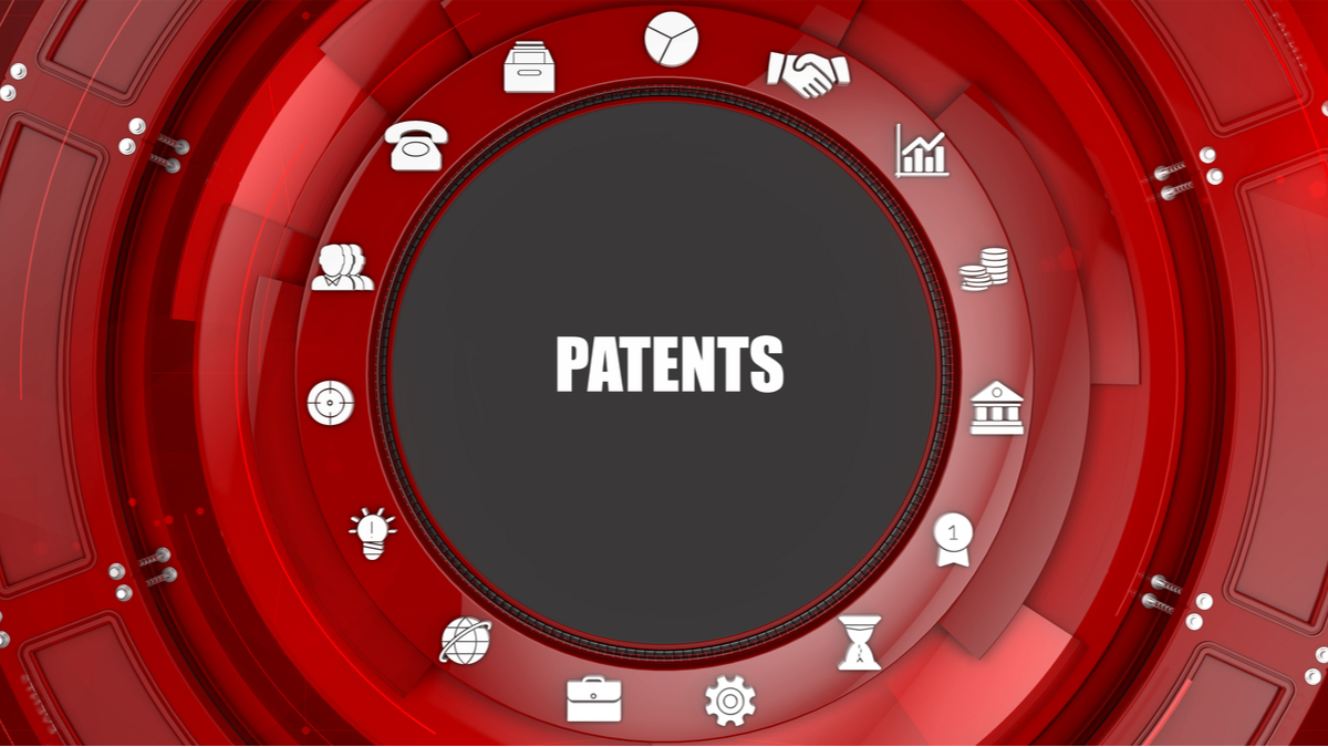 Patents concept image with business icons and copyspace - Illustration