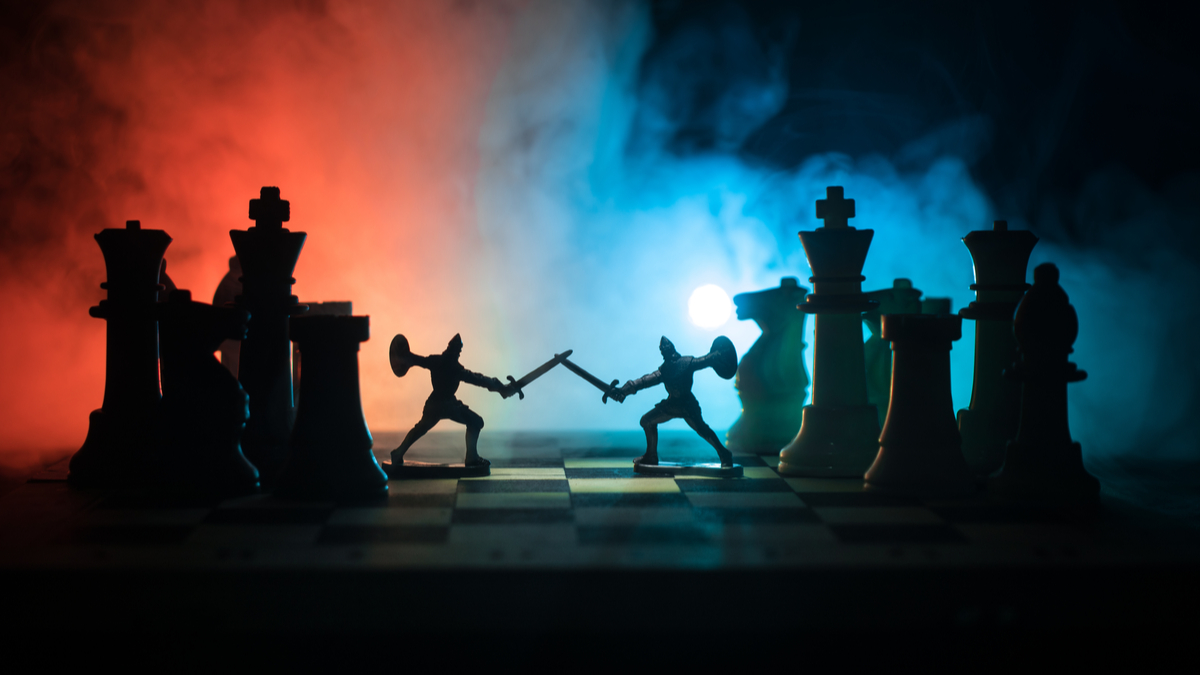 Medieval battle scene with cavalry and infantry on chessboard. Chess board game concept of business ideas and competition and strategy ideas Chess figures on a dark background with smoke and fog. - Image