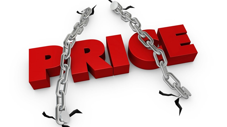 One 3d render of the word price fixed with two chains - Illustration