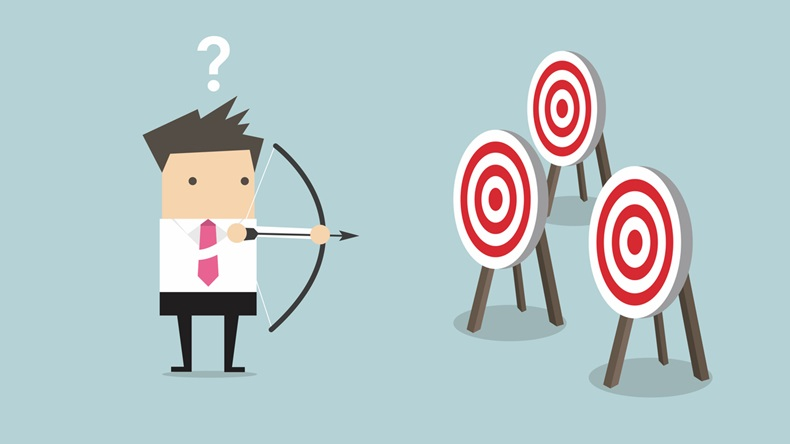 Businessman holding bow and arrow confused by multiple bulls eye target vector - Vector