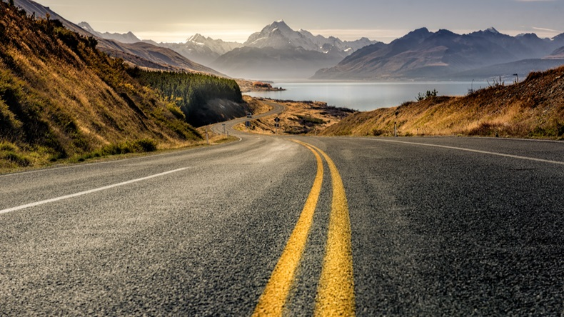 Road to mountain cook along pukaki lake ,South island ,New Zealand