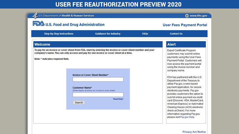 User Fee Reauthorization Preview 2020