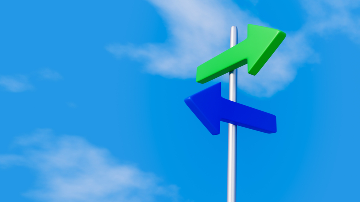 Two arrows pointed in different directions on a signpost 3D illustration