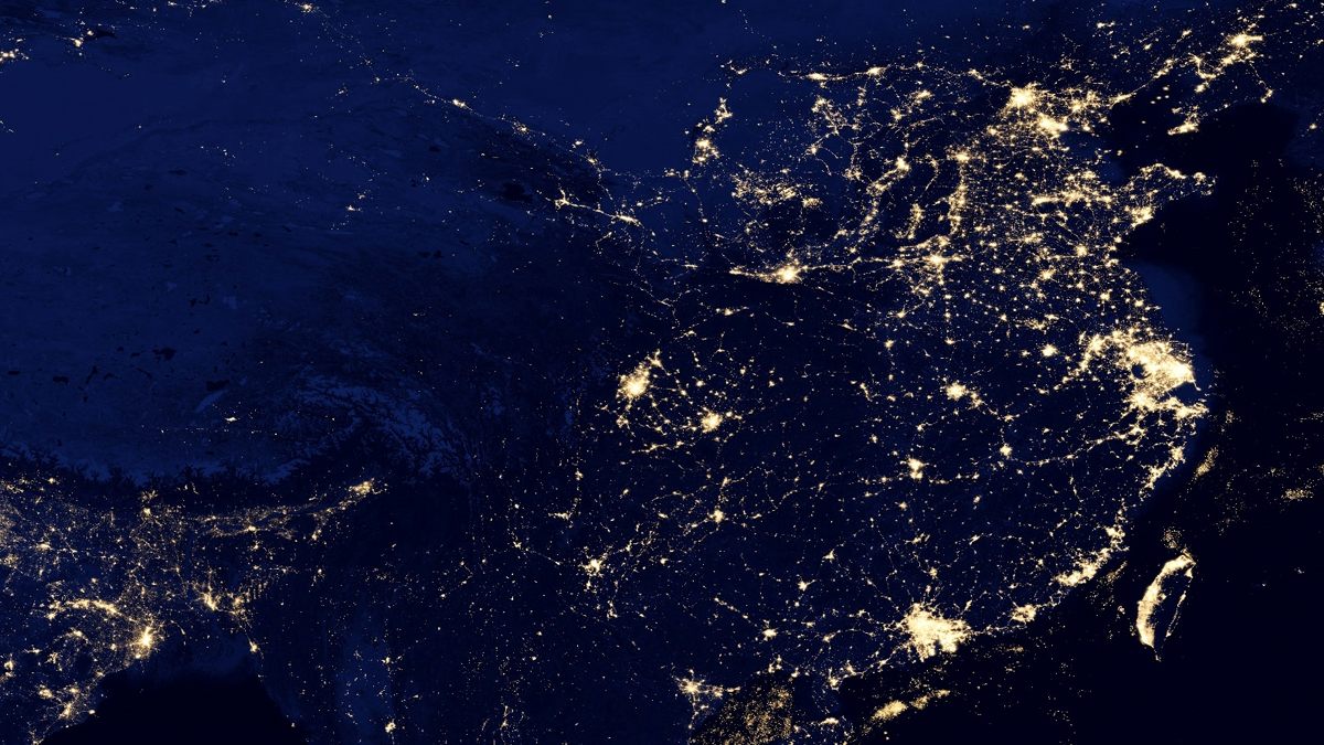 China at night by VIIRS: This view of East Asia at night is a composite image assembled from data acquired by the Suomi National Polar-orbiting Partnership (Suomi NPP) satellite over nine days in April 2012 and thirteen days in October 2012