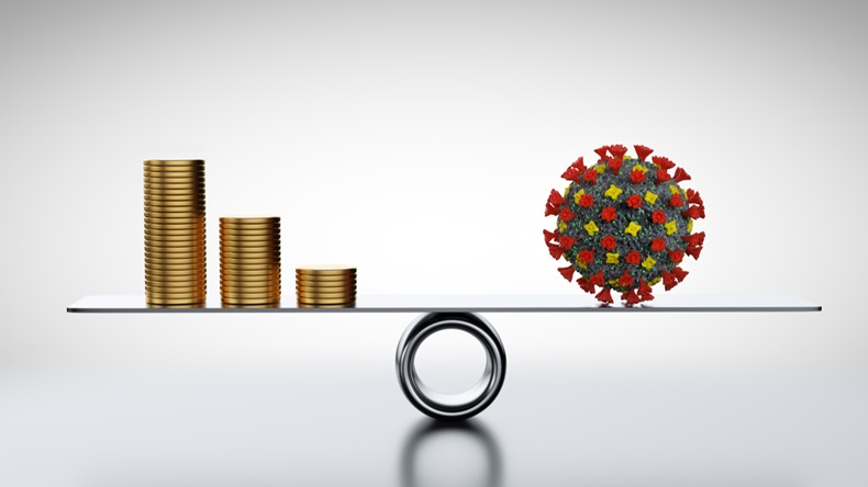 Coins, money and COVID-19 on scale. Concepts of economics against coronavirus. Balancing and managing losses. 3D render