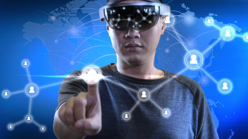 Men making connection in virtual reality world with hololens