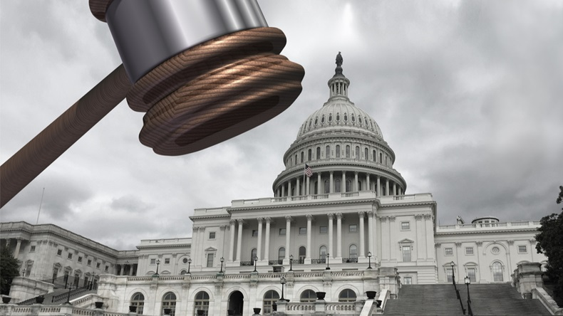Congress and law as congressional subpoena and political legislation concept or government investigation and legislative reform in the United States with 3D illustration elements.