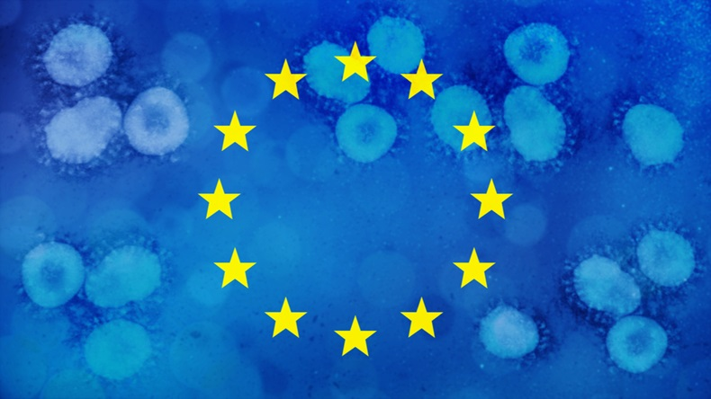 European Union flag with covid-19 coronavirus in background