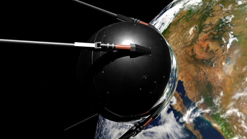 Satellite Sputnik 1 in space against the earth. 3d rendering.