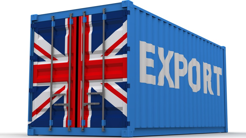 "Export of Great Britain. Freight container on a white surface with inscription ""EXPORT"" and images of the United Kingdom flag on the doors"