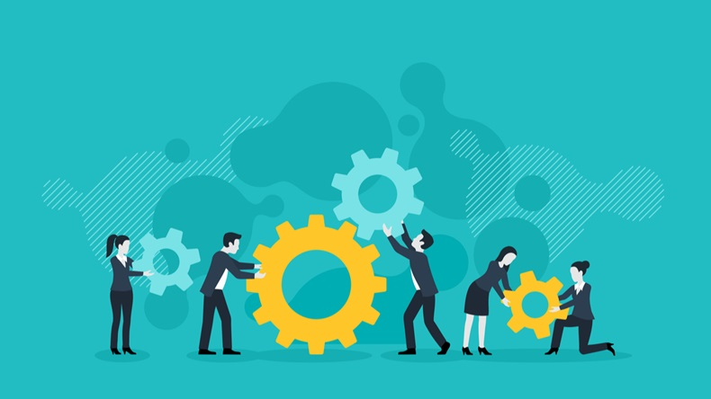 People team with gears - business management and working process conceptual illustration