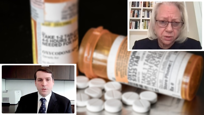 David Sackler and Kathe Sackler from the family that owns Purdue were called to testify before House Committee on Oversight and Reform committee to explain their role in the opioid crisis. (Illustration from screenshots and shutterstock))