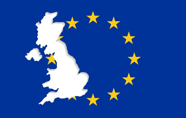 The EU flag and an empty space in form of the UK outlines. United Kingdom withdrawal from the European Union. Brexit concept
