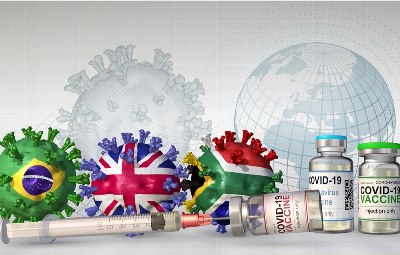 Concept image related to the concern that SARS-CoV-2 variants from UK, Brazil and South Africa might undermine available vaccines