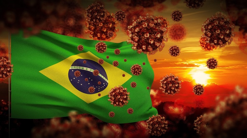 COVID-19 outbreak lockdown concept concept with flag of Brazil