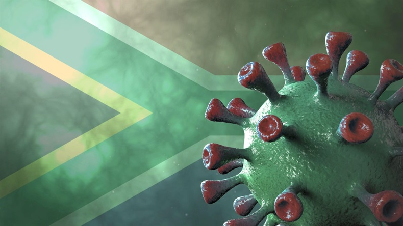 Covid south africa variant, covid-19 virus with african green flag