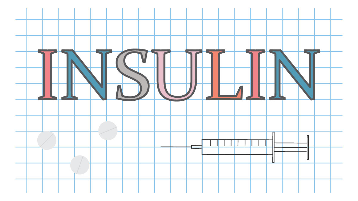 insulin word on checkered paper sheet- vector illustration - Vector