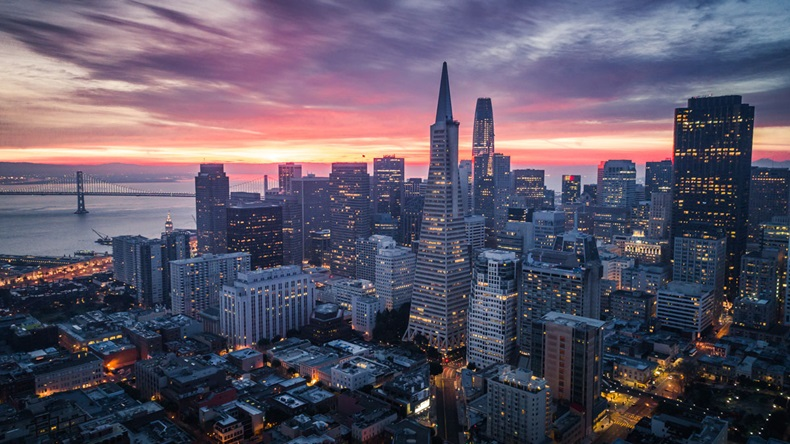 San Francisco Skyline with Dramatic Clouds at Sunrise, California, USA - Image