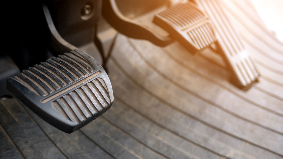 Foot pedals are levers of forklift car that are activated by the driver's feet to control certain aspects of the vehicle's operation brake pedal Car accelerator controls. - Image