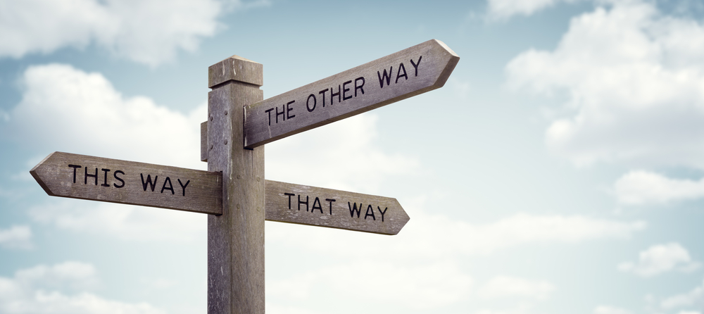 Crossroad signpost saying this way, that way, the other way concept for lost, confusion or decisions - Image