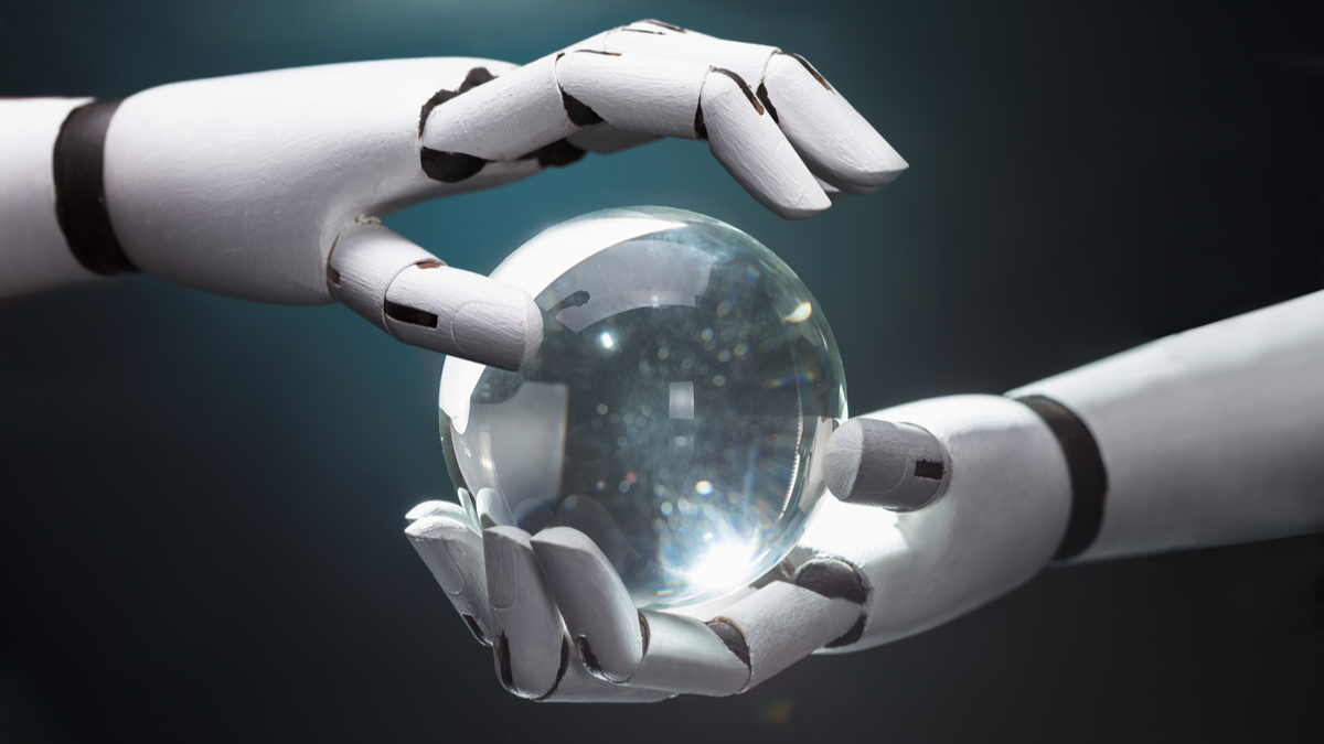 Close-up Of A Robot's Hand Predicting Future With Crystal Ball - Image