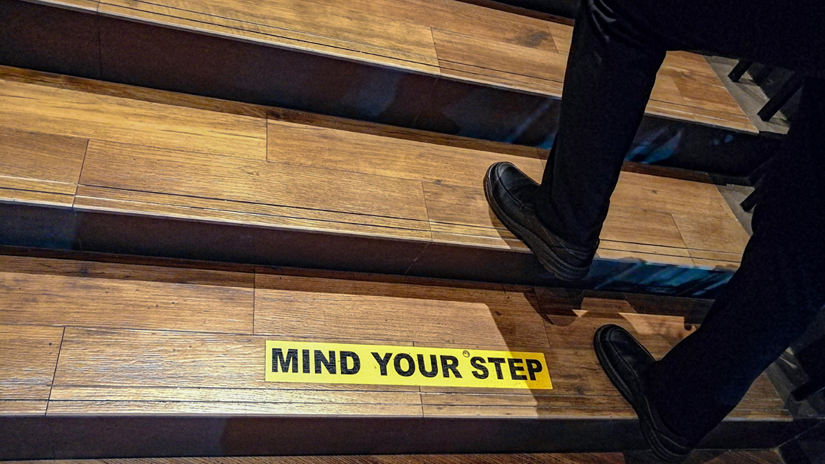 Businessman are stepping up the stairs. Ideas stepped through obstacles. Mind your step concept.
