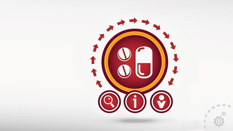 Pill flat icon on creative background. Red design concept for banner, web, advertising, print.