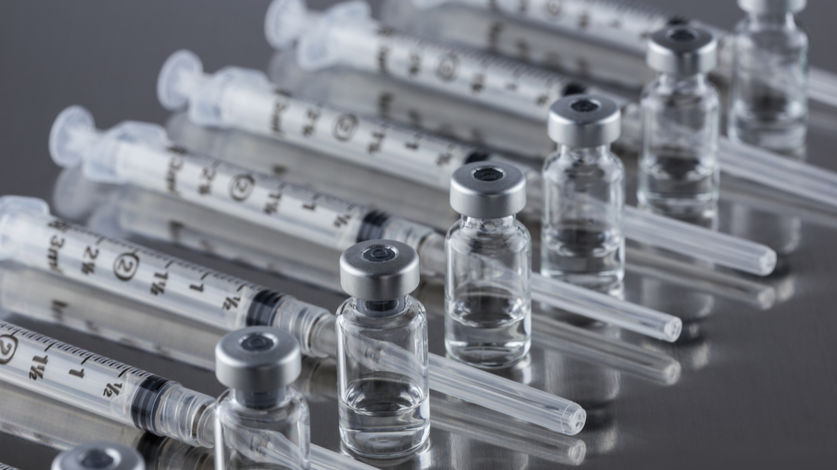 Vials of drugs with syringes
