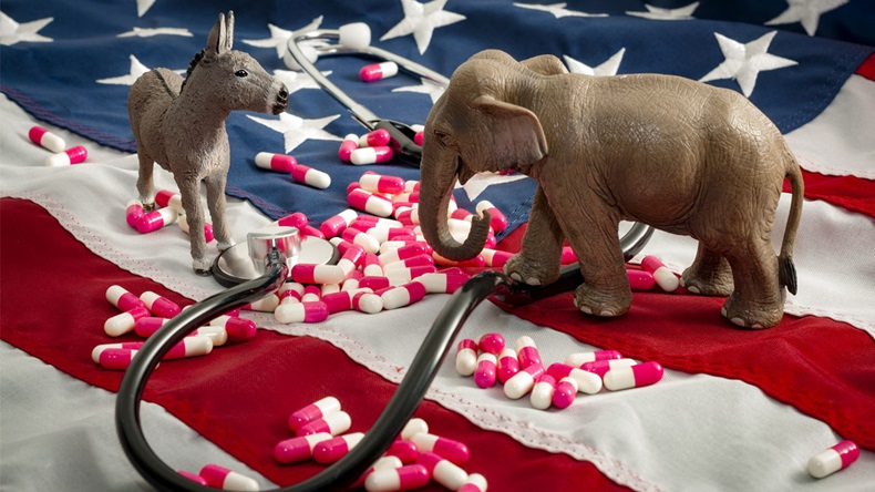The fight over the Affordable Care Act and the repeal and replace of Obamacare concept.In American politics US parties are represented by either the democrat donkey or republican elephant